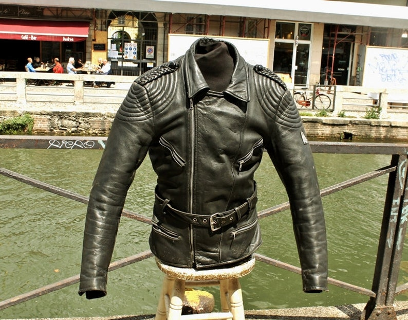 best website bdb06 0c777 Giubbotto giacca pelle chiodo moto vintage Krawehl biker caferacer taglia M