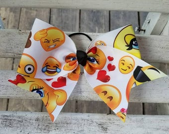 Emoji Faces #2 Cheer Style Hair Bow (6 inch)