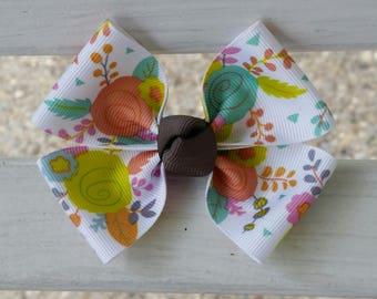 Floral Colorful Rose Hair Bow (3.5 inch)