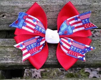Patriotic Hair bow (4 inch)