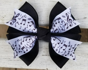 Music Notes Hair Bow (4 inch)