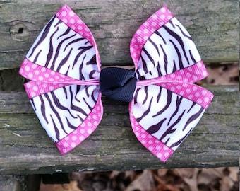 Pink Zebra Print Hair bow (3.5 inch)