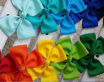 20- Plain Colored Hair Bows (5.5 inch/ 4.5 inch)
