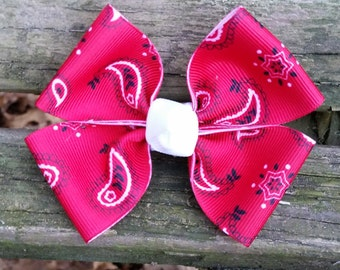 Red Bandanna Hair bow (3.5 inch)