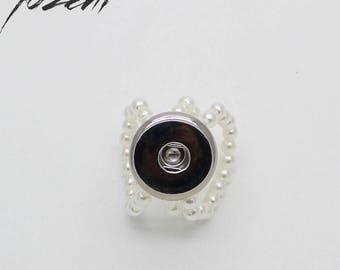 54e0366421df Bague extensible perles verre pour Bouton-Pression, Chunk, Snap Button