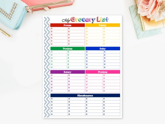 Grocery List Printable Grocery Shopping List Grocery Store Etsy
