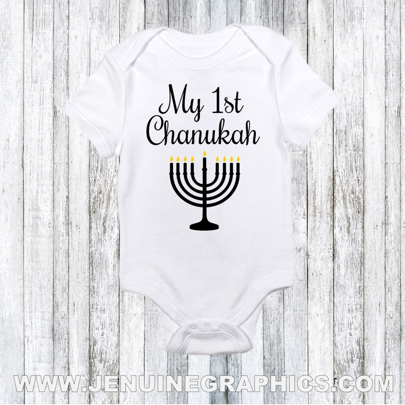 fdcc392a36c75 Baby first chanukah gift funny Hanukkah onesie jewish baby | Etsy