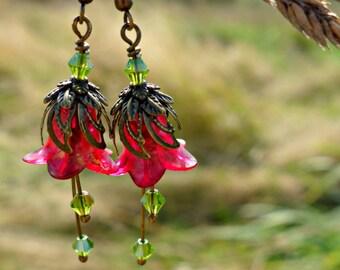 Red Earrings - Flower Earrings - Floral Earrings - Red and Green Bronze Earrings - Dangle Drop Earrings - Peridot Earrings - Red Jewelry.