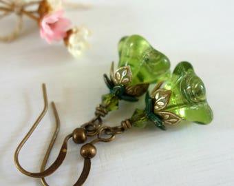 Peridot Earrings - Olivine Earrings - August Birthday - August Birthstone - Birthday Gift - Small Earrings - Glass Earrings - Green Earrings