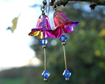 Rainbow Earrings - Colourful Earrings - Bright Earrings - Flower Earrings - Dangle Earrings - Bohemian Earrings - Vibrant Earrings - Vivid.