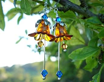 Orange Earrings - Rust Earrings - Orange Wedding Earrings - Orange and Blue Bohemian Bridesmaid Earrings - Red Orange Jewelry - Flower Girl