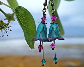 Bohemian Earrings - Flower Earrings - Boho Earrings - Floral Earrings - Turquoise Earrings - Pink Earrings - Dangle Drop Earrings - Woodland