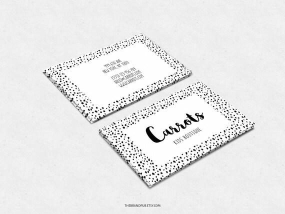 Noir Blanc A Pois Design De Carte De Visite Carte De
