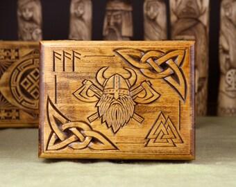 Hand Carved Wooden Trinket Jewellery Puzzle Box,Viking Valknut