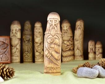Heimdallr God Wooden Linden Statue. Heimdallr Protection Scandinavian Viking. Handmade Wood carving. Scandinavian Rainbow God
