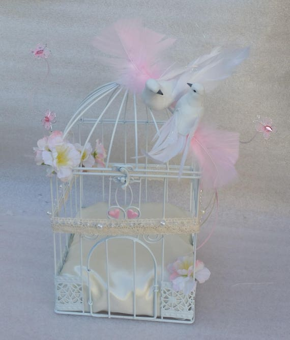 Urn cage bird powder pink decor, baptism, wedding, anniversary  Whoopsidaisies Creation