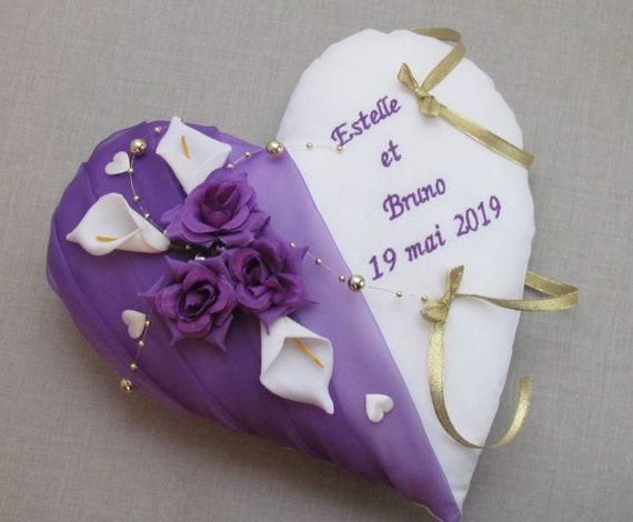 Heart Alliance Poduszki Dekoracja ślubna Purple Gold Drzwi Etsy