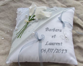 White wedding Pearl gray rhinestone butterflies, embroidered names decor pillow