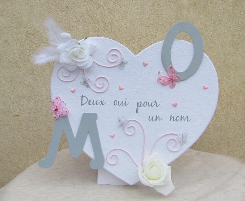 Urne Cœur Rose Poudre Et Gris Perle Mariage Romantique Chic Etsy