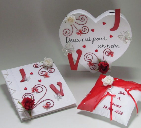 Urn Heart Red And White Guestbook Matching Pillow Wedding Theme Red Custom Heart Saperlipopette Creation