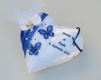 Cushion holder ring bearer, wedding decorations, white, blue, Royal, butterfly, feather, Orchid, Saperlipopette Creation