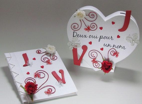 Urne Cœur Rouge Et Blanc Et Livre D Or Assorti Mariage Theme Amour Passion Personnalisee Saperlipopette Creation