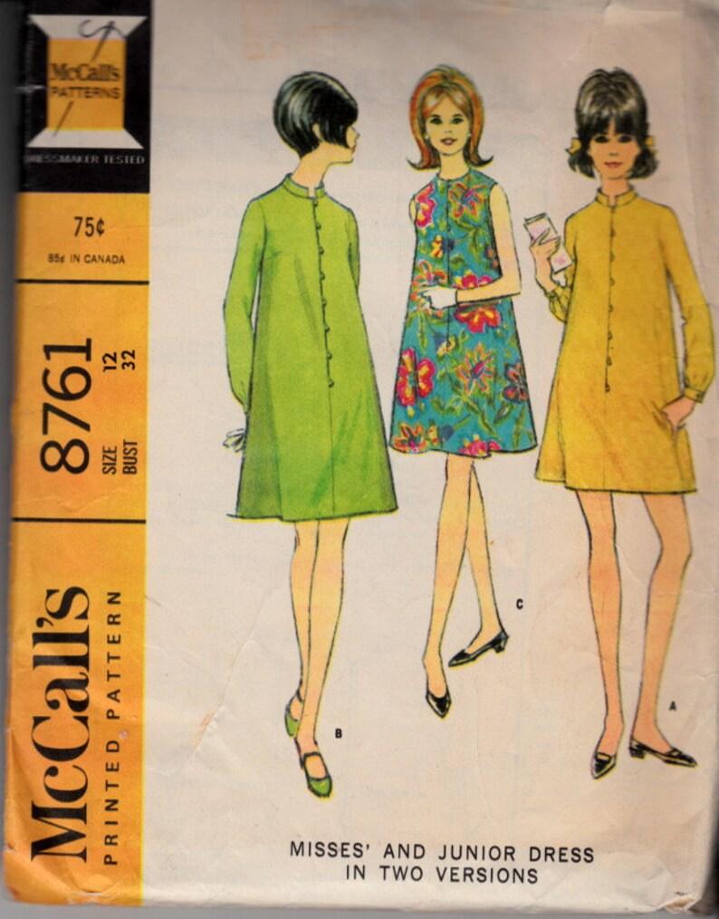5b12429e460aa McCalls 8761 Size 12 Bust 32 60s Dress Mod Dress A-line | Etsy