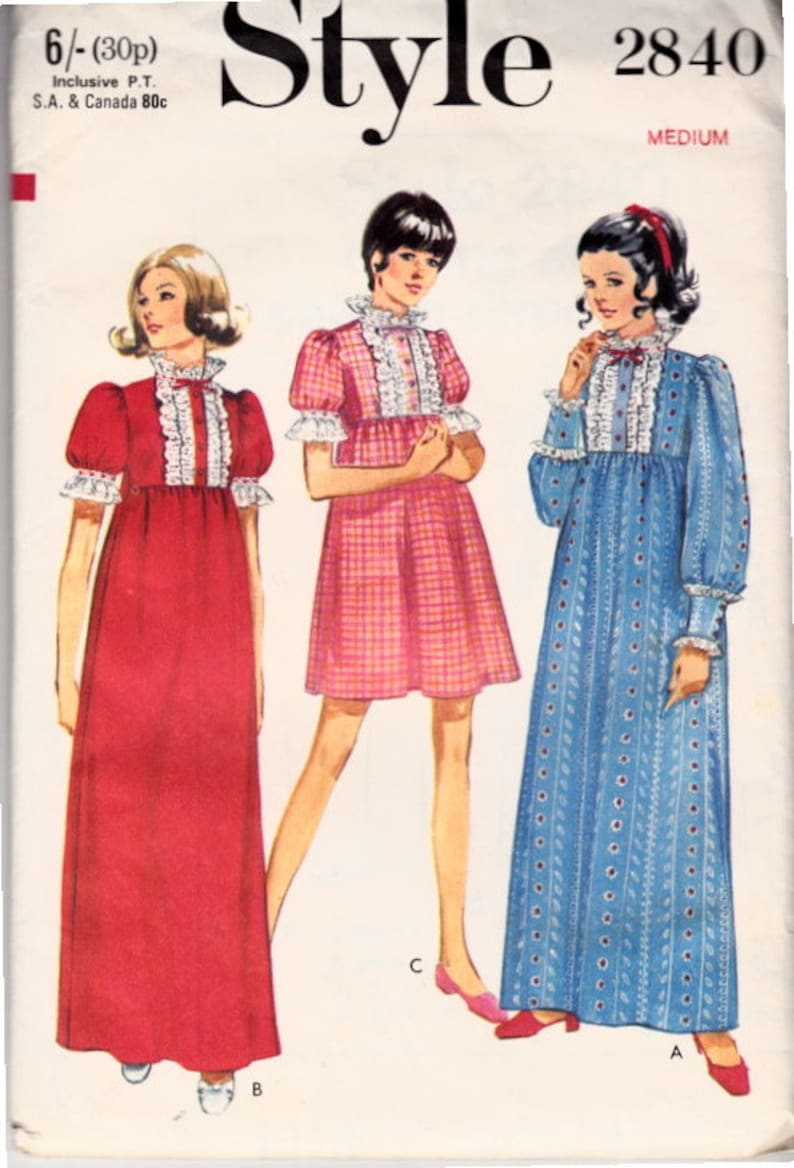 554a82d2d53 Style 2840 70s Dress Babydoll Dress Empire Waist Dress