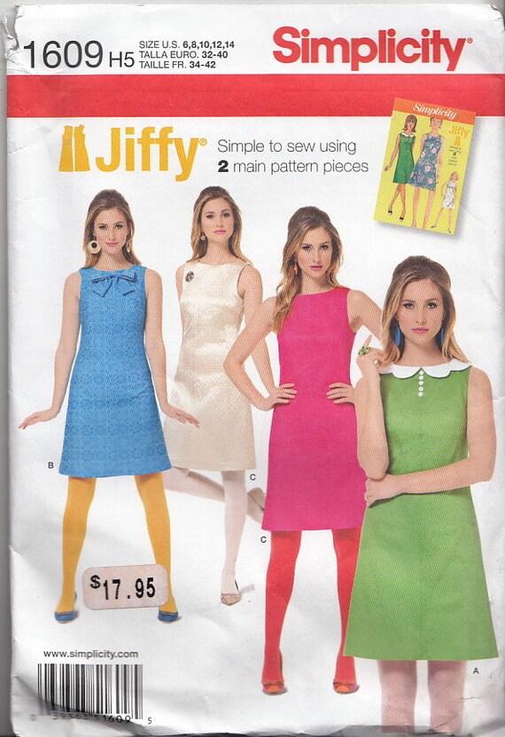 Einfachheit 1609 6-14 Jiffy verschieben Mod-Kleid Twiggy   Etsy