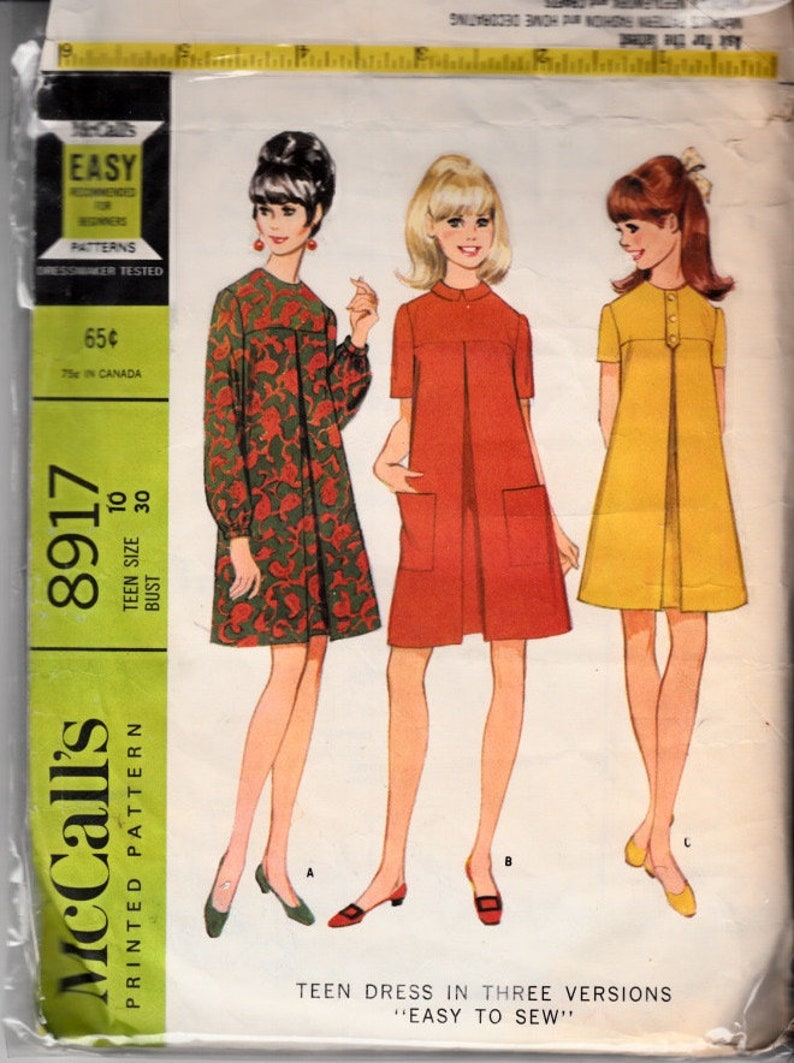 f35d4de4ead9d McCalls 8917 Size 10 Bust 30 60s Dress Tent Dress Shift | Etsy