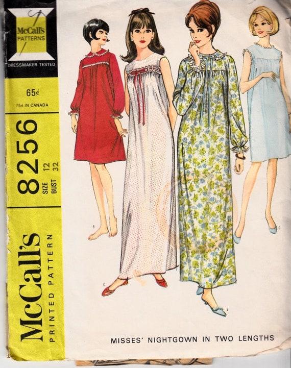 0aea04ad6954 McCalls 8256 Size 12 Bust 32 Babydoll Dress Empire Waist | Etsy