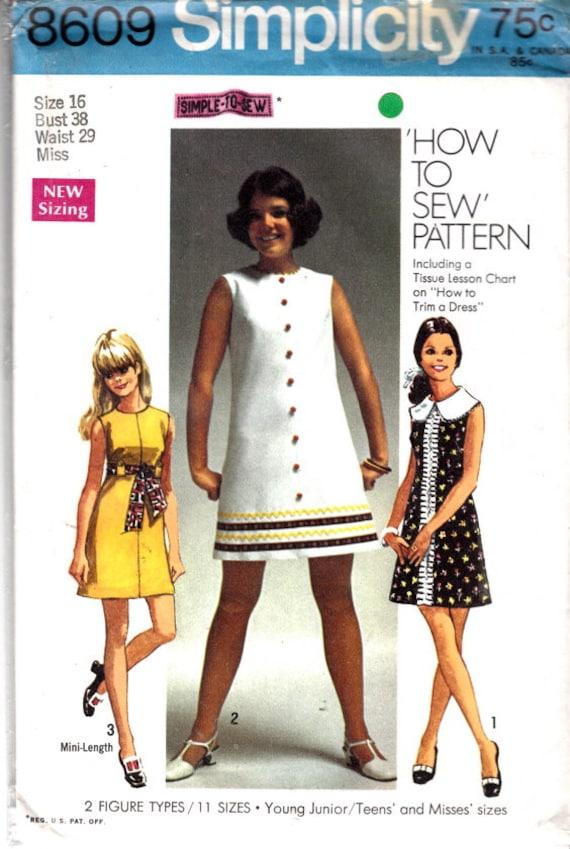 Einfachheit 8609 Größe 16 38 Büste a-Linie Kleid   Etsy