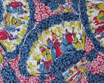 """VINTAGE '40s '50s NOVELTY FABRIC Fans and Figures Print  / Cotton / 34"""" x 106""""/ 2.9 yards / perfect for a skirt! / conversational"""