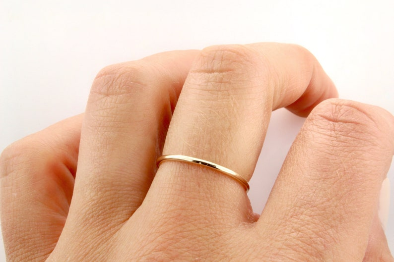 95a5ccda2e3c9 14K Fine Gold 1MM Band, Wedding Band, Stacking Ring, Delicate, Minimalist,  Classic Ring, Fine Jewelry, Solid Gold Ring, BrookeMicheleDesigns