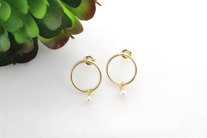 d6dbd38c4325a Pearl Hoop Earrings, 14K Gold Hoop Earrings, Dangle Hoop Charm Earrings,  Pearl Earrings, Gold Hoops, Graduation Gift, BrookeMicheleDesigns