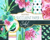 60 OFF SALE Digital Floral Paper, Watercolor Succulent Papers II, Cactus Seamless Pattern, Botanical Greenery, Desert cacti, Planner Papers