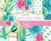 60 OFF SALE Digital Watercolor Paper, Watercolor Succulent Papers, Seamless Cactus Plant, Botanical Greenery, Desert Cacti, Planner Papers