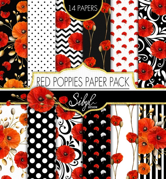 60 Off Sale Red Poppies Digital Paper Pack Poppy Floral Etsy