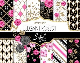 Floral Digital Paper, Elegant Pink Roses Seamless Paper Pack, Digital Wedding Roses Paper, Pink Flowers Pattern, Glitter Floral Paper