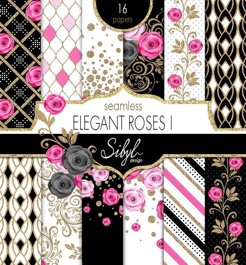 60% OFF SALE Floral Digital Paper Elegant Pink Roses image 0