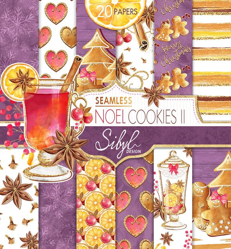 60 Off Sale Christmas Digital Paper Seamless Noel Cookies Ii Watercolor Xmas Cookies Gingerbread Cookies Candy Jars Holiday Cookies