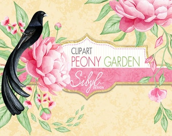 60% OFF SALE  Watercolor Floral Clipart, Watercolor Digital Clipart, Pink Peonies, Greenery Pattern, Peony with Jackson's widowbird, DIY
