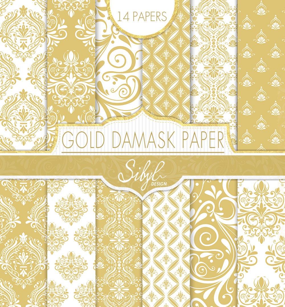 60% OFF SALE Damask Digital Paper Gold Damask Wedding | Etsy