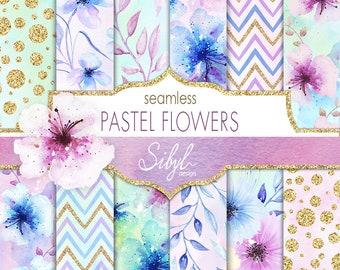 Digital Watercolor Floral Paper, Pastel Flowers Digital Paper, Watercolor Floral Seamless Pattern, Flowers Hand Painted Paper, Planner Paper