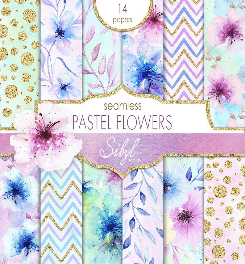 60% OFF SALE Digital Watercolor Floral Paper Pastel Flowers image 0