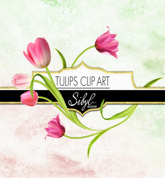 60 Off Sale Digital Tulips Clipart Spring Flower Clip Art Etsy