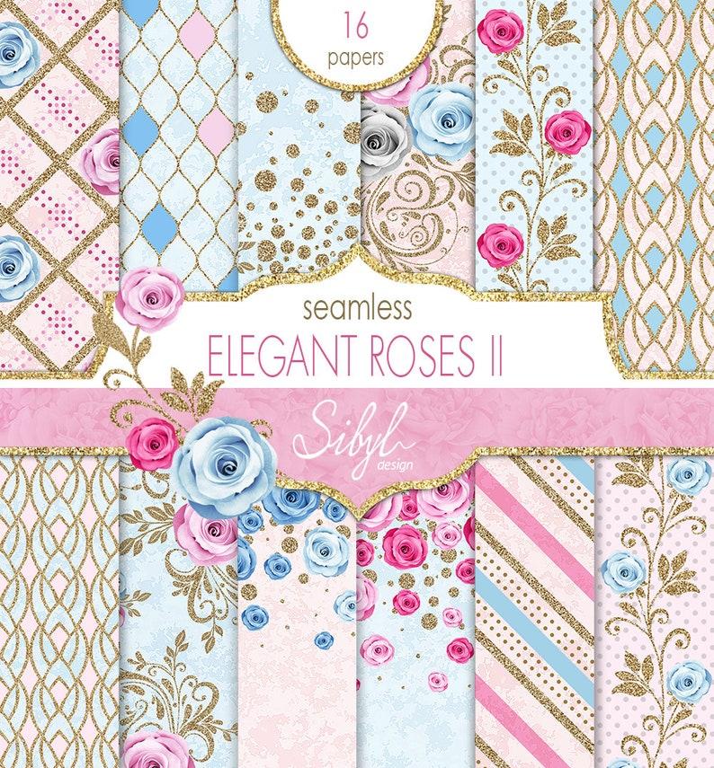 60% OFF SALE Seamless Floral Digital Paper Pink Roses image 0