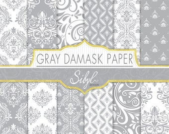 60% OFF SALE, Damask Digital Paper, Gray Damask Wedding Digital Paper, Gray and White Damask, Damask Craft Paper, Damask Scrapbook paper