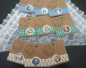 BELIEVE COLLECTION: 9 labels religious theme measuring 6 x 6 cm