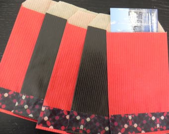 black and Red gift 7 x 12 cm decorated TAGLESS 40 bags